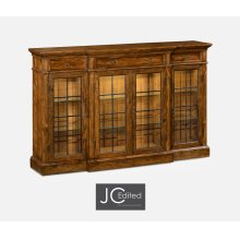 Four Door China Display Cabinet in Country Walnut