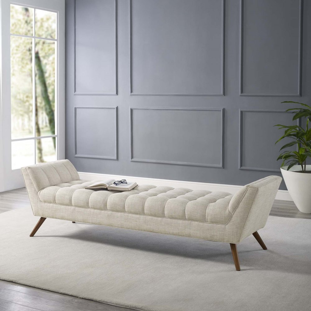 Response Upholstered Fabric Bench in Beige
