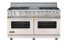"60"" Custom Sealed Burner Dual Fuel Range, Natural Gas, Brass Accent"