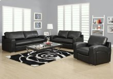LOVE SEAT - BLACK BONDED LEATHER