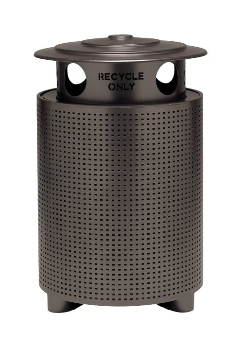 District Round Waste Receptacle with Recycling Hood, Square Pattern