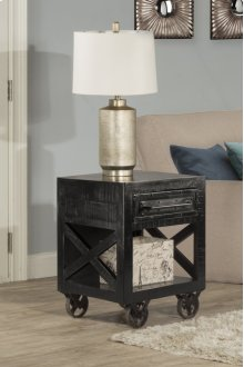 Bridgewater End Table With Casters - Rubbed Black Wood