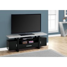 """TV STAND - 60""""L / BLACK / CEMENT-LOOK TOP"""
