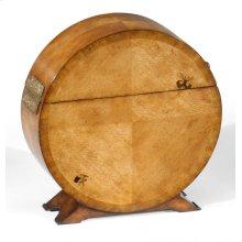 Circular Light Walnut & Butterfly Inlay Placemat Box