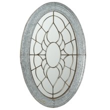 Oval Galvanized Wall Mirror with Metal Overlay.