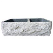 "Brandi Double Bowl Granite Farmer Sink - Polished Black / 33"""