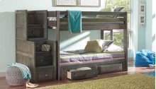 Twin / Full Rustic Wood Bunkbed with Stairway and Under Storage