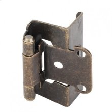 """1/2"""" Overlay, 3/4"""" Frame Full Wrap Self Closing Hinge Without Screws Antique Brass"""