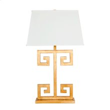 Gold Leaf Greek Key Lamp Base With Rectangular Off White Shade. Ul Approved for One 60w Bulb.