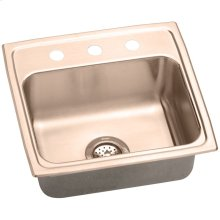 "Elkay CuVerro Antimicrobial Copper 19-1/2"" x 19"" x 10-1/8"", Single Bowl Drop-in Sink"