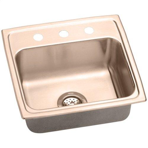 "Elkay CuVerro Antimicrobial Copper 19-1/2"" x 19"" x 10-1/8"", Single Bowl Drop-in Sink"