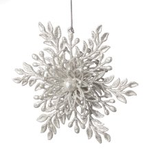 Silver Flower Snowflake Ornament.