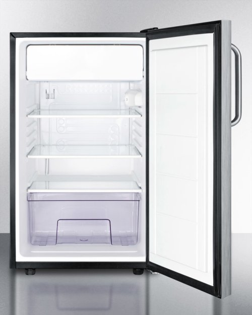 "ADA Compliant 20"" Wide Built-in Refrigerator-freezer In Complete Stainless Steel With A Lock and Towel Bar Handle"