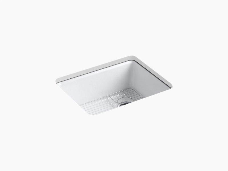 White 25 X 22 9 5 8 Under Mount Single Bowl Kitchen Sink With Rack