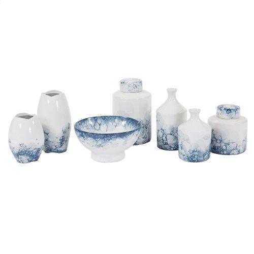 Blue and White Porcelain Scalloped Vase, Large