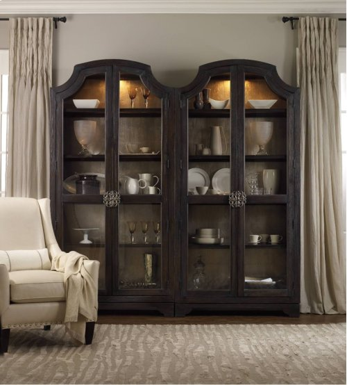 Sanctuary Glass Bunching Curio-Ebony Antiqued Oak