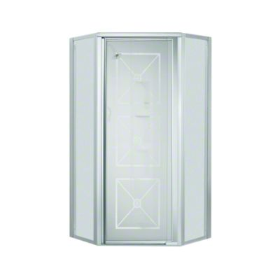 Intrigue™ Neo-angle Shower Door - Silver with Brownstone Glass Pattern