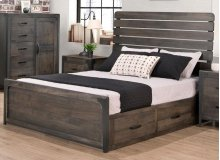 Portland Double 4 Drawer Storage Platform Bed with 22'' Low Footboard