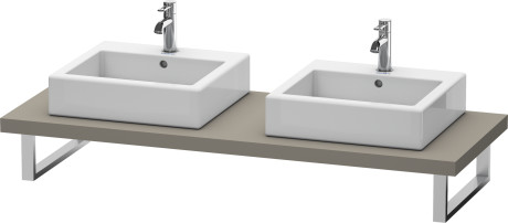 Console For Above-counter Basin And Vanity Basin, Flannel Grey Satin Matt Lacquer
