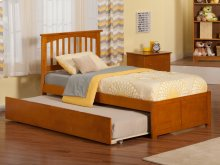 Mission Twin Flat Panel Foot Board with Urban Trundle Caramel Latte