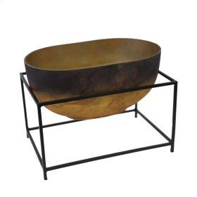 "Glass Bowl W/ Iron Stand 9.75"", Multi"