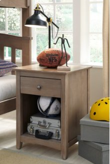 Lancaster 1-Drawer Nightstand Taupe Gray