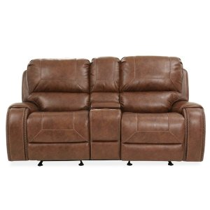 Keily Brown Glider Reclining Console Loveseat