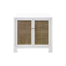 Two Door Cane Cabinet With Brass Hardware In Matte White Lacquer