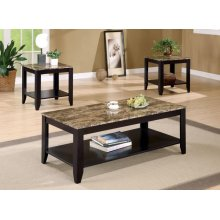Transitional Marble Look Top Three-piece Table Set