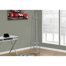 """COAT RACK - 72""""H / SILVER METAL WITH AN UMBRELLA HOLDER"""