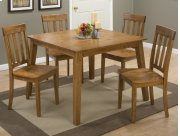Simplicity Honey Square Dining Table With Four Slat Back Dining Chairs Product Image