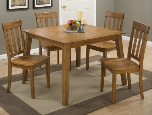 Simplicity Honey Square Dining Table With Four Slat Back Dining Chairs