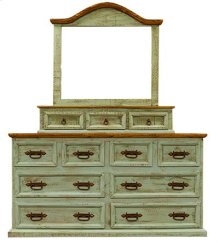 "Mirror : 47"" x 10"" x 47"" Turquoise Wash Dresser and Mirror"