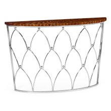 Feather Inlay Demilune Console Table