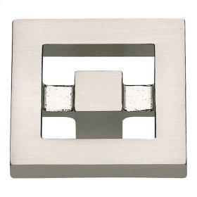Nobu Square Knob 1 3/8 Inch - Brushed Nickel