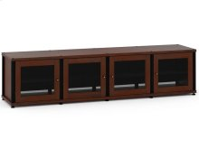 Synergy Solution 247, Quad-Width AV Cabinet, Walnut with Black Posts