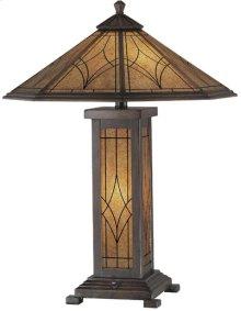 Table Lamp - Dark Bronze/glass Shade, Cfl 13wx2 & E12 C 7w