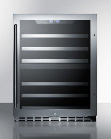 Display Model Clearance - Dual Zone 44-bottle Built-in Wine Cellar With Seamless Ss Trimmed Glass Door, Full Extension Shelves, Digital Thermostat, and Black Cabinet