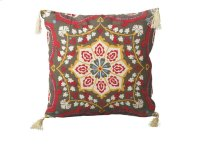 Red Medallion Pillow with Tassels. Product Image