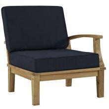 Marina Outdoor Patio Premium Grade A Teak Wood Left-Facing Sofa in Natual Navy