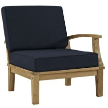 Marina Outdoor Patio Teak Left-Facing Sofa in Natual Navy