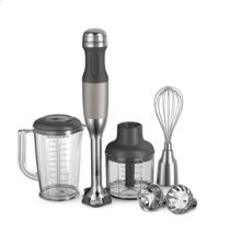 KitchenAid® 5-Speed Hand Blender with the Industry's First Interchangeable Stainless Steel Bell Blade Assemblies and FIRST EVER Removable Pan Guards