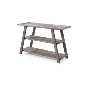 Sofa Table-ceramic Tile Top W/brushed Gray Finish-rta