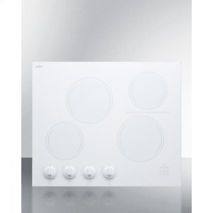 """Summit24"""" Wide 4-burner Radiant Cooktop Made In France With White Ceramic Glass Surface"""