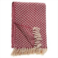 Red & Cream Arrow Stripe Throw. Product Image