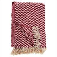 Red & Cream Arrow Stripe Throw. Product Image
