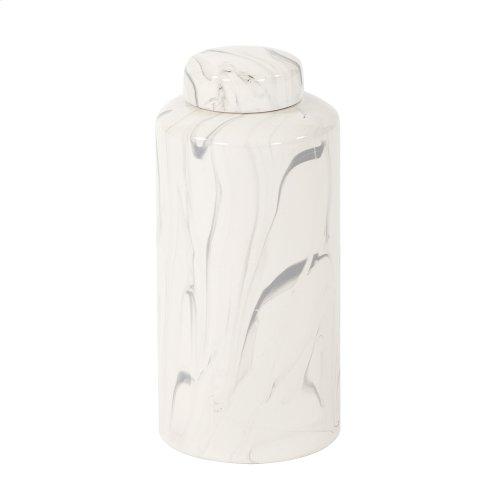 Porcelain White and Black Swirl Tea Jar, Small