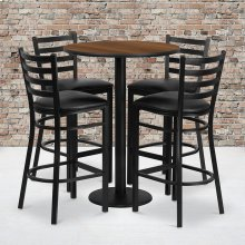 30'' Round Walnut Laminate Table Set with Round Base and 4 Ladder Back Metal Barstools - Black Vinyl Seat
