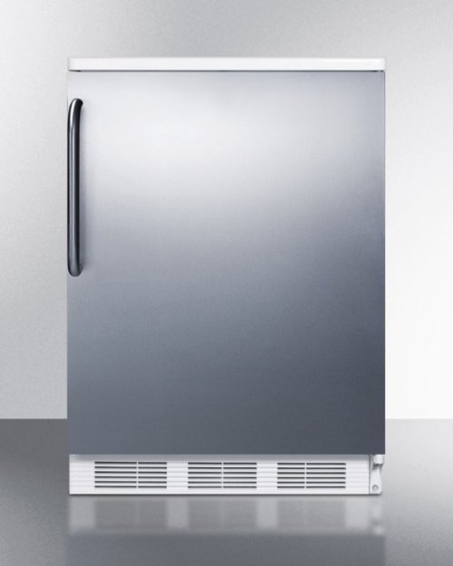 Freestanding Counter Height All-refrigerator for General Purpose Use, Auto Defrost W/stainless Steel Wrapped Door, Towel Bar Handle, and White Cabinet