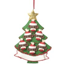 Monkey Family of 6 Personalizable Ornament